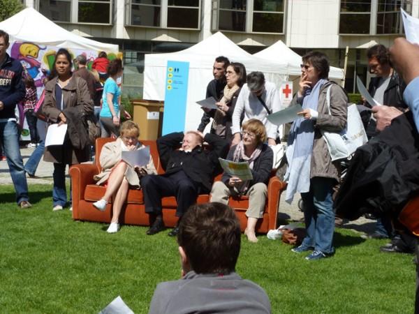 Le public courbevoisien lors d'une séance de résolution, au parc des Pléiades, en 2012