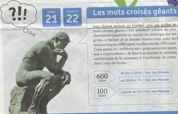 """Dans le magazine du Festival, """"le Penseur"""" de Rossat..."""